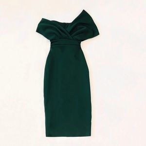 Fallen Shoulder Midi Pencil Dress with Tie Detail